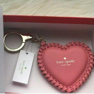 🆕💐kate spade Leather Heart Keychain/Bag Charm